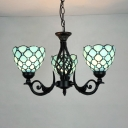 Tiffany Style Dome Chandelier Glass Metal 3 Lights Blue Pendant Light with Jewelry for Foyer Bathroom