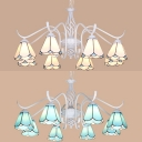 Glass Cone Shade Hanging Lamp 8 Lights Tiffany Style Chandelier in Blue/White for Restaurant