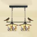 Stained Glass House Chandelier Dining Room Stair 2 Lights Rustic Hanging Lighting with Bird