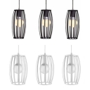 Industrial Wire Frame Hanging Light Metal 3 Lights Black/White Island Light for Restaurant