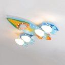 Kids Airplane Bluetooth Ceiling Lamp Wood 4 Lights Colorful Semi Flush Light with White Lighting