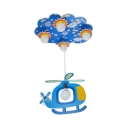 Wood Cartoon Helicopter Hanging Light 5 Lights Cute Pendant Light in Blue for Kid Bedroom
