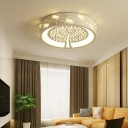 Tree Moon Bedroom Flush Mount Light Acrylic Crystal Contemporary White LED Ceiling Lamp with White Lighting