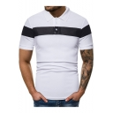 New Stylish Colorblock Chest Short Sleeve Three-Button Slim Fit Polo Shirt for Men
