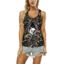Summer New Stylish Eagle Printed Scoop Neck Sleeveless Cutout Back Brown Tank For Women