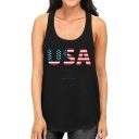 Women's New Style Flag Printed Letter USA Scoop Neck Sleeveless Racerback Tank