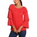 Women's Off The Shoulder Round Neck Ruffle Long Sleeve Solid T-Shirt