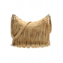 Hot Fashion Solid Color Large Capacity Fringe Hobo Crossbody Bag 36*12*26 CM