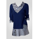 Color Block Polka Dot Printed Pocket Patched Zip Detail V Neck Long Sleeve Tee