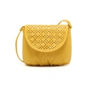 Popular Floral Hollow Out Yellow Crossbody Messenger Bag 17*15 CM