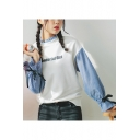 WONDERFUL GIRL Letter Print Stand Collar Bow-Tied Cuff Striped Patched Long Sleeve White Sweatshirt