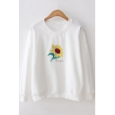 New Simple Varsity Cartoon Floral Embroidered Round Neck Long Sleeve Loose Fit Sweatshirt for Women