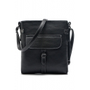 Trendy Solid Color Buckle Pocket Decoration Crossbody Shoulder Bag 22*23 CM