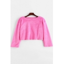 Pink Round Neck Long Sleeve Plain Cropped Fluffy Sweatshirt