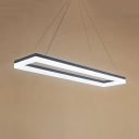 Modern Square LED Pendant Light Black/White Acrylic Hanging Light in Warm/White for Dining Room