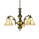 Beige Cone Pendant Light with Leaf 3 Lights Rustic Style Glass Chandelier for Foyer Bathroom
