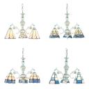 Glass Cone/Dome Chandelier Restaurant 3 Lights Mediterranean Style Suspension Light in Blue/White