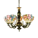 Stained Glass Flower Chandelier 5 Lights Tiffany Style Antique Suspension Light for Foyer