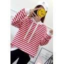 Stylish Women's Stripe Print Contrast Hem Drawstring Hood Long Sleeve Loose Fit Cotton Hoodie