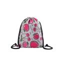 Cute Cartoon Fruit Letter Polka Dot Printed Grey Storage Bag Drawstring Backpack 30*39 CM