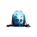 Fashion Creative 3D Panda Printed Blue Drawstring Backpack Storage Bag 30*39 CM