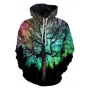 Unique 3D Tree Printed Basic Long Sleeve Pullover Drawstring Hoodie