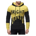 Mens Black and Yellow Colorblock BRIGHT Letter Splashing Ink Printed Slim Fit Hoodie
