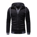 Men's Hot Fashion Plain Long Sleeve Patched Fake Two-Piece Zip Up Casual Drawstring Hoodie