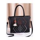 Elegant Geometric Embroidery Pattern Tassel Embellishment PU Leather Shoulder Handbag 30*14*24 CM