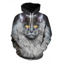 Fancy Galaxy Cat 3D Print Long Sleeve Black Hoodie with Pocket for Men