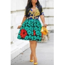 Women's Elegant Floral Short Sleeve Stand Collar Colorblock Midi A-Line Green Dress