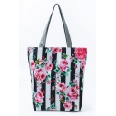 Women's Fashion Floral Stripe Pattern Black and White Shoulder Tote Shopper Bag 27*11*38 CM