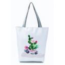 Popular Cactus Printed Large Capacity White School Shoulder Bag 27*11*38 CM
