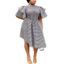 Women's Unique Blue And White Stripes Layered Ruffle Short Sleeve Collared Midi Asymmetric Dress