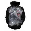 Cool Dinosaur 3D Print Long Sleeve Black Drawstring Hoodie with Pocket