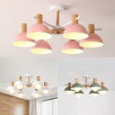 Contemporary Dome Chandelier 6 Lights Metal Pendant Light in Pink/Green/White for Kid Bedroom