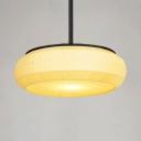 Fabric Drum Shape Pendant Light Living Room 1 Light Simple Style Hanging Light in Beige