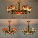 Restaurant Flower Chandelier Stained Glass 7 Lights Rustic Style Pendant Lamp with Crystal
