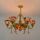 Tiffany Style Dome Chandelier Stained Glass 7 Lights Hanging Lamp with Crystal for Cafe Hotel
