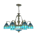 Mediterranean Style Dome Chandelier Glass 7 Lights Hanging Light with Mermaid for Living Room