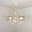 Glass Cone Hanging Light with Clear Crystal 5 Lights Traditional Chandelier in White for Bedroom