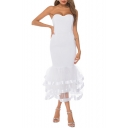 Sexy White Plain Off the Shoulder Sleeveless Zip Back Mesh Patched Midi Tutu Party Dress