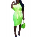 Women's Green Solid Color One Shoulder Short Sleeve Bow Tie Midi Bodycon Pencil Dress