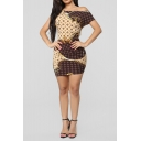 New Stylish One Shoulder Chain Geometric Printed Brown Mini Bodycon Dress