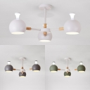 Modern White/Gray/Green Chandelier Globe 3 Lights Metal Pendant Lamp for Boy Girl Bedroom