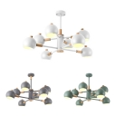 Nordic Style Orb Hanging Lighting Metal 8 Light Macaron White/Green/Gray Chandelier for Bedroom