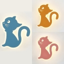 1/2 Pack Cat Wall Light Lovely Metal Wall Sconce in Macaron Yellow/Pink/Blue for Child Bedroom