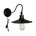 1/2 Pack Industrial Saucer Wall Sconce with Plug In Metal 1 Light Black Sconce Light for Stair