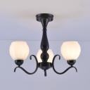 Traditional Globe Semi Flush Ceiling Light Frosted Glass 3/5/6/8 Lights Black Ceiling Lamp for Living Room
