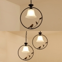 Traditional Bell Pendant Light Frosted Glass 1/2 Lights Ceiling Light with Bird Decoration for Kitchen
